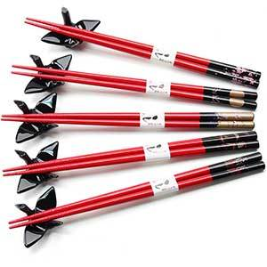 Red Chopsticks with Black Crane Rest Set of 5