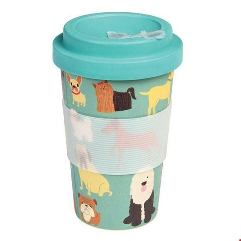 Light blue travel mug with illustrations of show dogs. Blue lid and white translucent silicone sleeve.