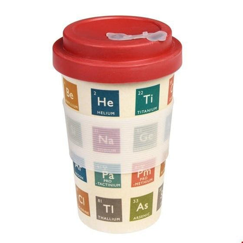 Cream-coloured bamboo travel mug with red lid and multi-coloured, retro periodic table design. Translucent white silicone sleeve.