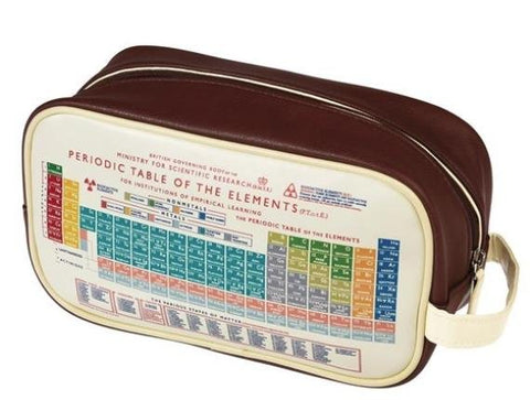 PVC & nylon zippered washbag, brown top with cream-coloured side featuring the Periodic Table in retro colours.