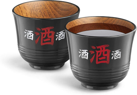 Sake Wooden Cup Set Of 2