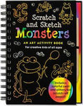 Front cover of Scratch and Sketch Monsters art activity book. Shows outlined images of friendly monsters against black.