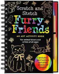 Front cover of Scratch and Sketch Furry Friends art activity book. Shows outlined images of cat, duck, etc. against black.