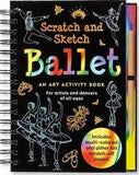 Front cover of Scratch and Sketch Ballet art activity book. Shows outlined images of ballet dancers, shoes, etc. against black.