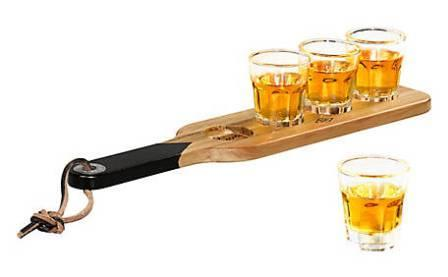 Serving Paddle With Shot Glasses