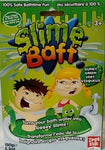 Package of Gunky Green Slime Baff with cartoon illustration of boy and girl playing with the slime in the bath and a cute slime monster appearing from it.