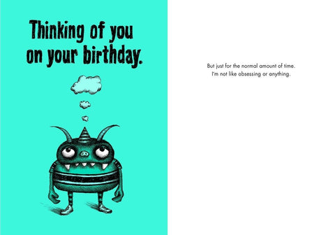 "Front and inside of card. Front of card is blue with illustration of small monster in party hat with thought clouds coming out of its head. Text at top of card reads ""Thinking of you on your birthday."""