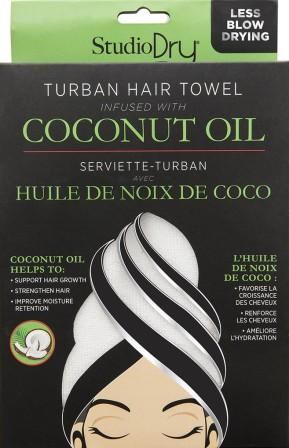 Black package of Studio Dry Coconut Oil Infused Hair Towel with lime green accents. Shows white turban.