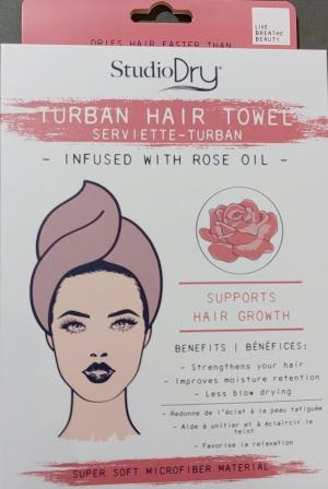 Studio Dry Infused Turban with Rose Oil in white and rose colored package, showing rose colored turban.