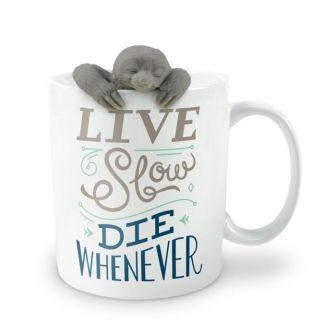 "White mug with cute grey sloth infuser peeking over the edge. Text on mug reads ""Live Slow"" in grey and ""Die Whenever"" in dark blue."