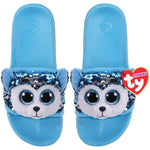 Pale blue kids' slides with blue and white Beanie Boo character Slush the Husky Dog across strap. Reversible sequins version of character. Ty logo on heel.