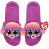 Purple kids' slides with face of rainbow striped Beanie Boo character Rainbow the Poodle across strap. Reversible sequins version of character. Ty logo on heel.