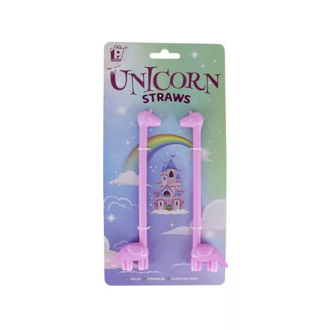 Pale purple Unicorn Straws with extended necks in fantasy themed package with illustration of castle, clouds and rainbow.