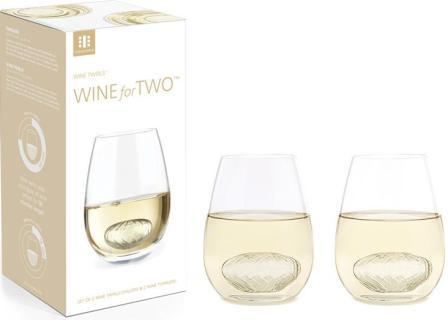 Two clear tumblers with Wine Twirls in white wine, next to Wine Twirls Wine For Two box.