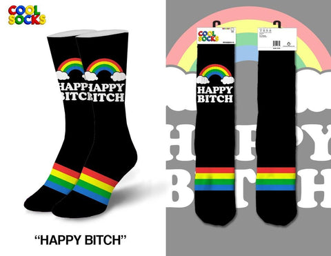 Womens Happy Bitch Crew Socks
