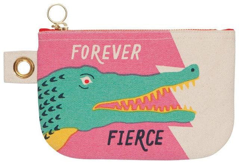 "Beige and pink zipper pouch with illustration of green crocodile with red eye and open mouth showing green teeth. Text: ""Forever"" in white above crocodile head and ""Fierce"" in black underneath."