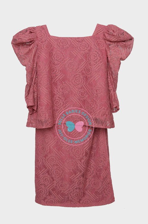 Puff Sleeves (Lace) Kurung - Red Brick