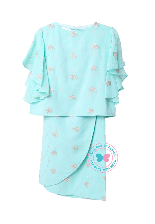 BBD Modern Kurung Kedah (Embroidered Print) - Mint Green