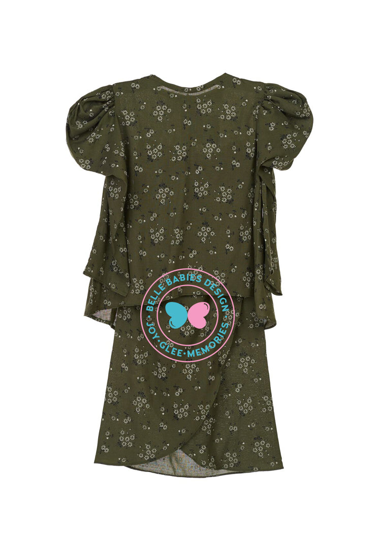 Printed (Floral) Puff Kurung - Olive Green