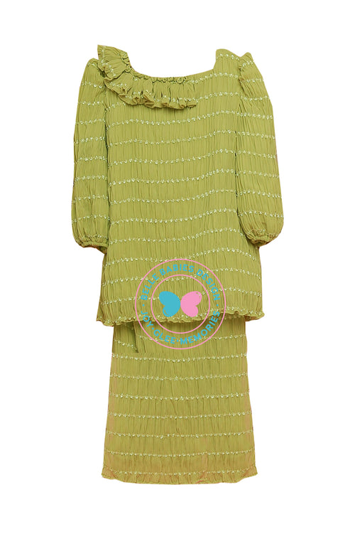 BBD Pleat Chiffon Kurung - Dusty Lime (Green)