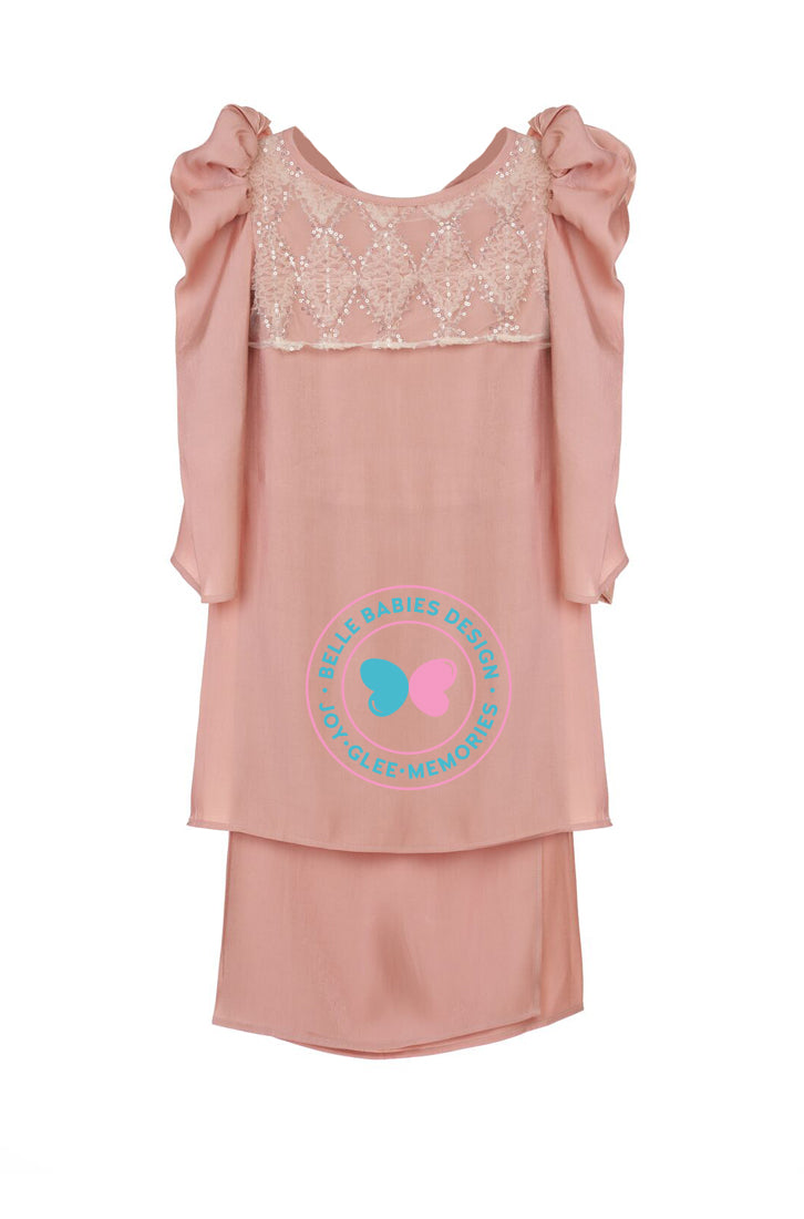 Glimmer Puff Kurung - Dusty Peach Pink Salmon