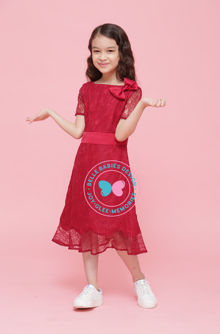 BBD Scallop Dress (lace) (knee-length) - Maroon