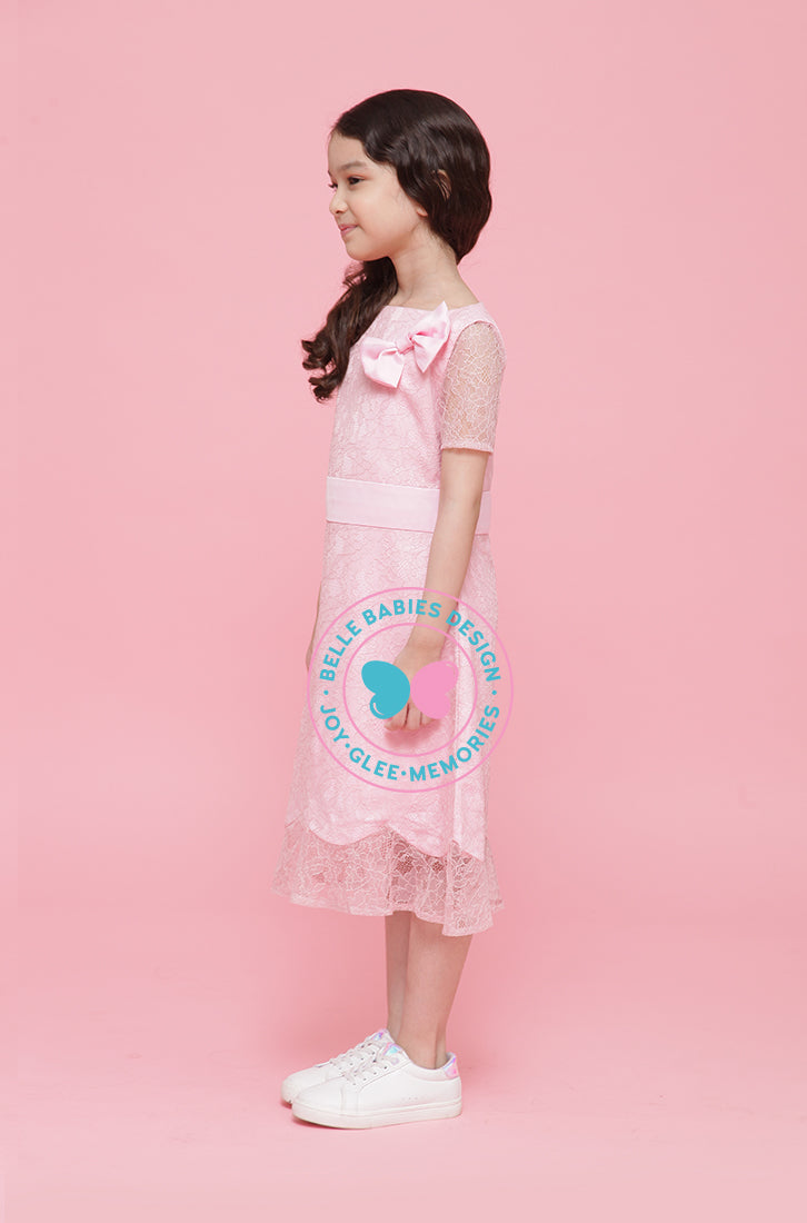 BBD Scallop Dress (lace) (knee-length) - Pink