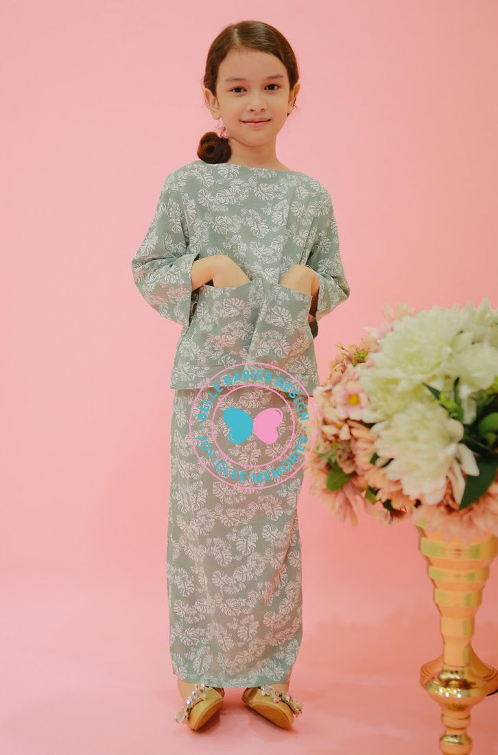 BBD Big Pocket Kurung Kedah - Dusty Green (prints)