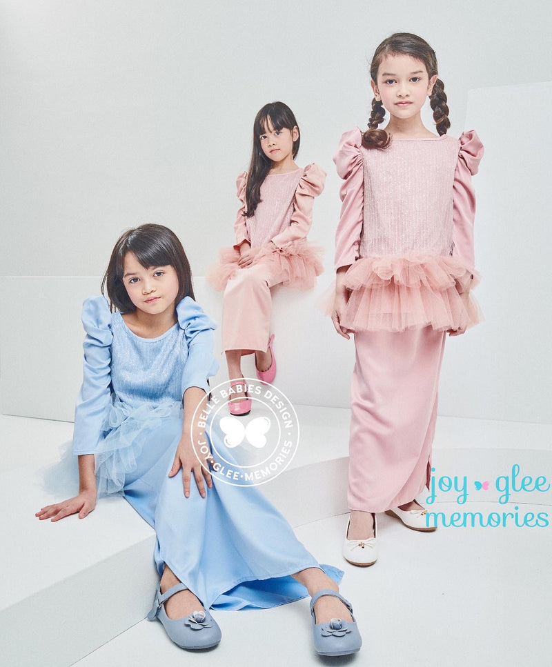 Shimmery Tiered Tutu Kurung (Dusty Pink)