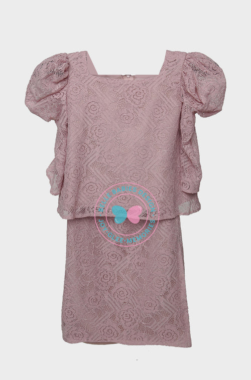 Puff Sleeves (Lace) Kurung - Dusty Pink