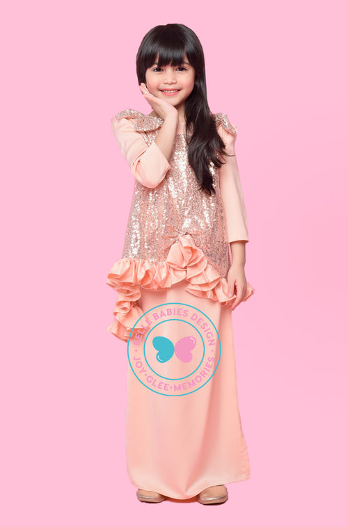 BBD Sequin Kurung - Peach Gold