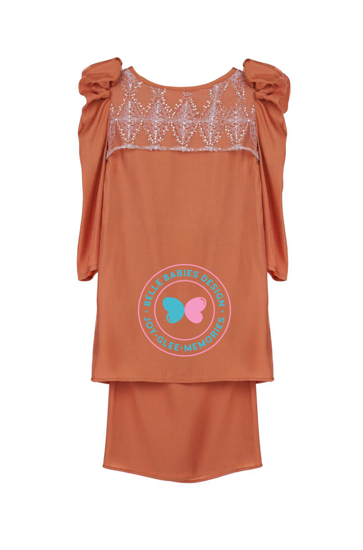 Glimmer Puff Kurung - Orange Brick
