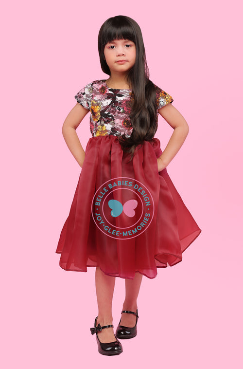 BBD Organza Dress - Deep Maroon