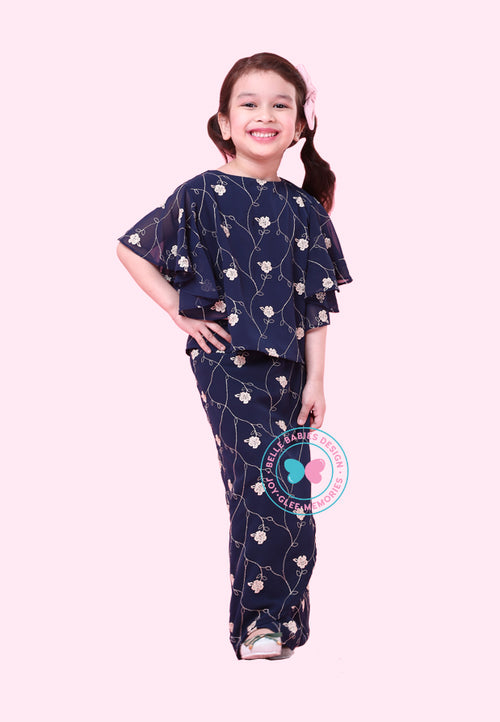 BBD Modern Kurung Kedah (Embroidered Print) - Midnight Blue