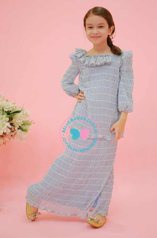 BBD Pleat Chiffon Kurung - Dusty Blue