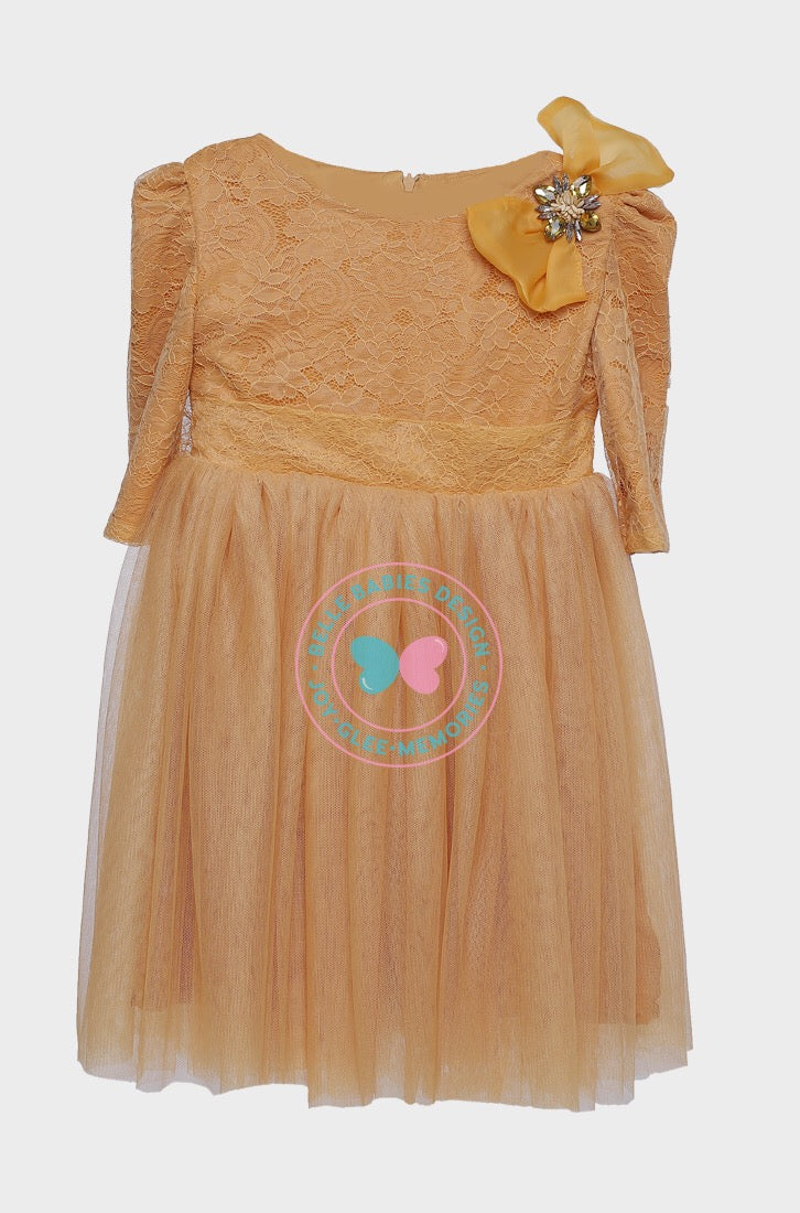 Elisse Dress (Beads and Bow) - Mustard Yellow