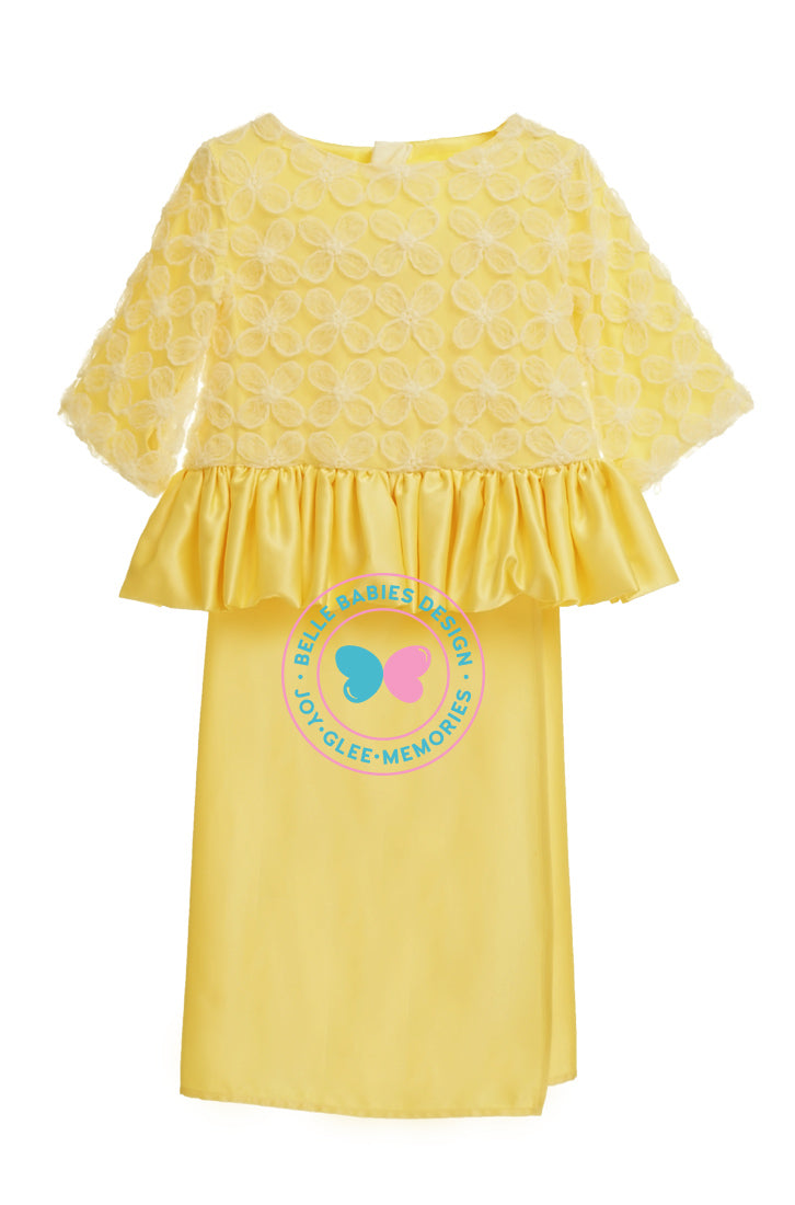 BBD Flower Lace Peplum- Yellow