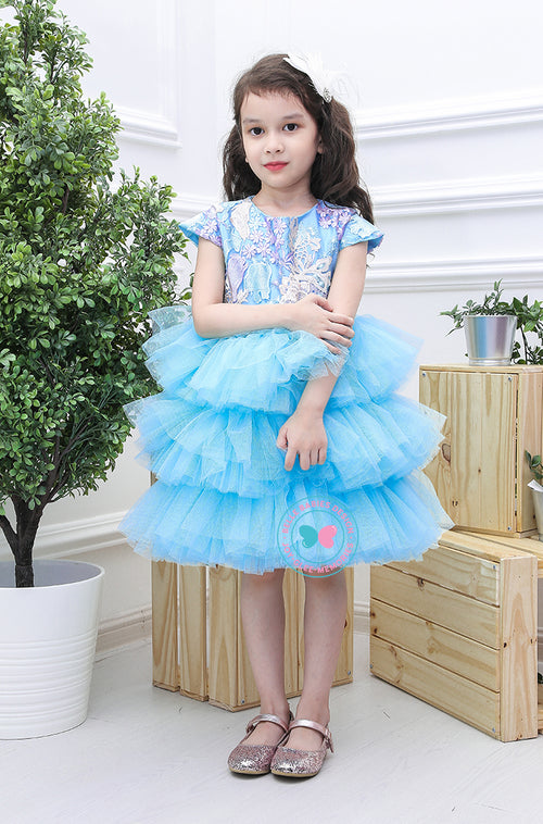 (PREORDER) BBD (Luxe)  3-Tiered Tutu Dress - Aqua Blue