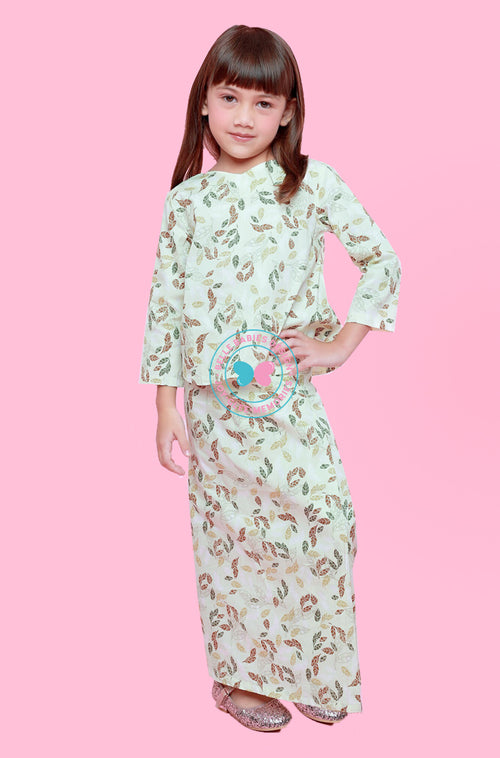 BBD Crop Top Kurung  - Earth Green (Printed)