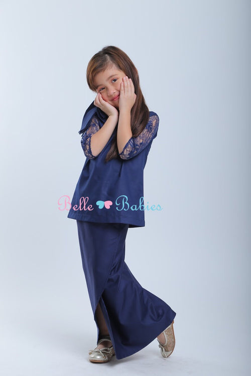 "BBD Modern Lace Kurung ""French Lace""  - Navy Blue"