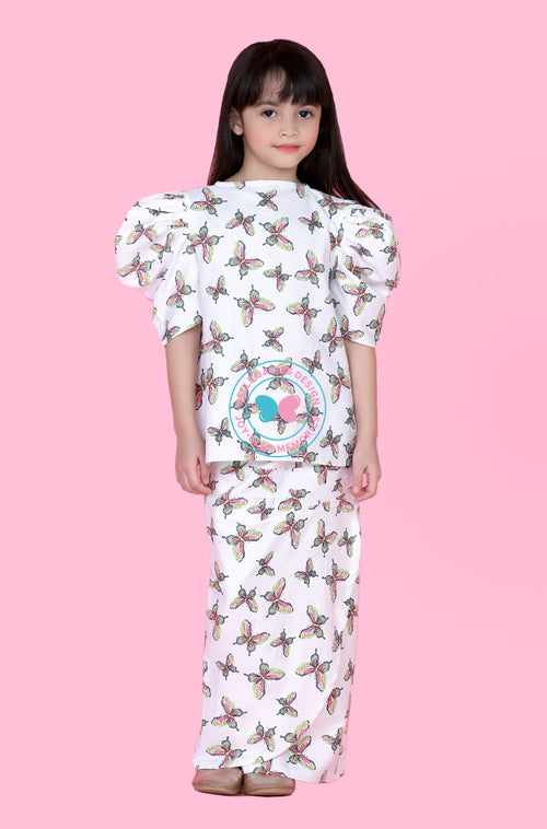 Puff Sleeves Modern Kurung (Butterfly-white)