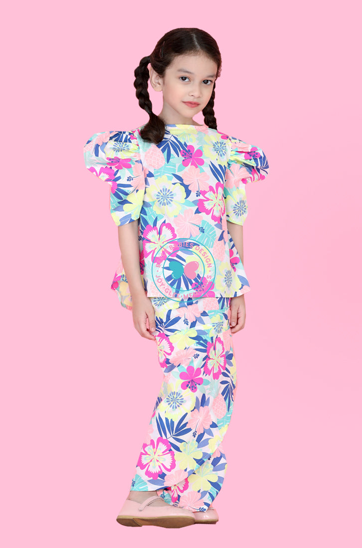 Puff Sleeves Modern Kurung (Colourful Flower)