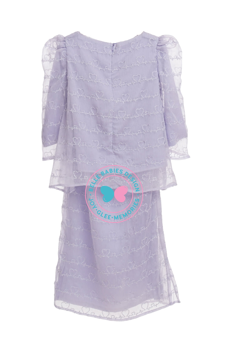 BBD Embroidered Modern Kurung - Lilac