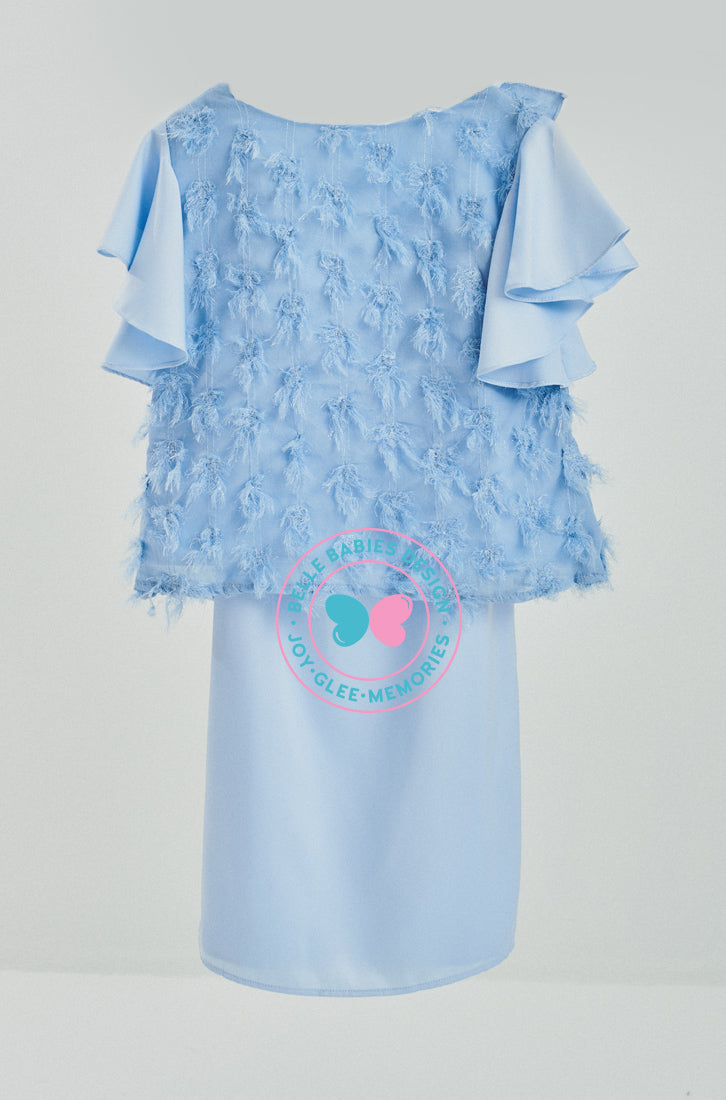 Modern Kurung Feathers (Cornflower Blue)