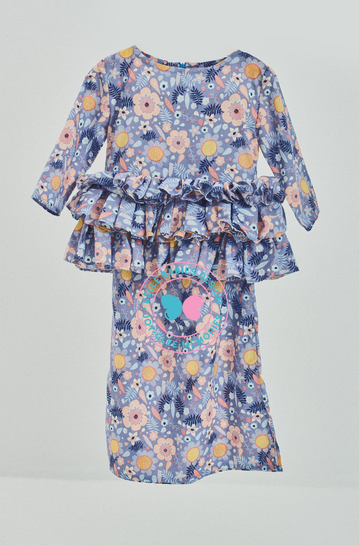 Tiered Frill Kurung (Printed) - Purple (flower)