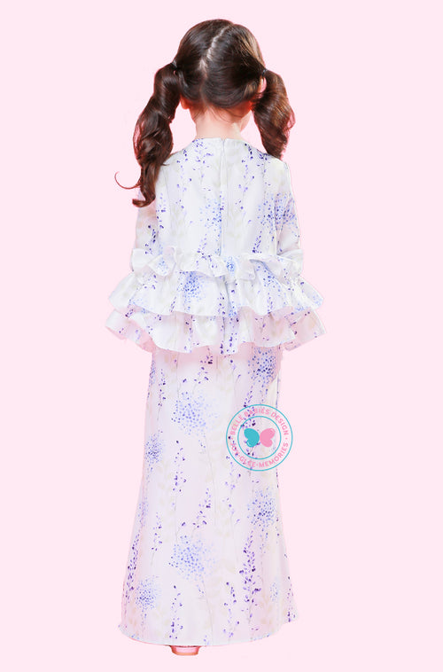 BBD 3- Tier Frill Kurung  - White Purple