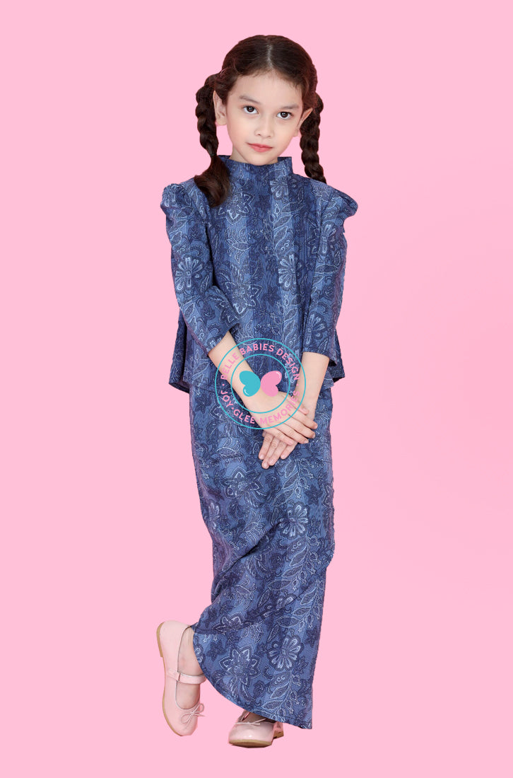 High Neck Modern Kurung : Blue (Printed)