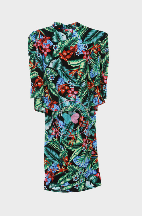 High Neck Modern Kurung : Tropical Green (Printed)