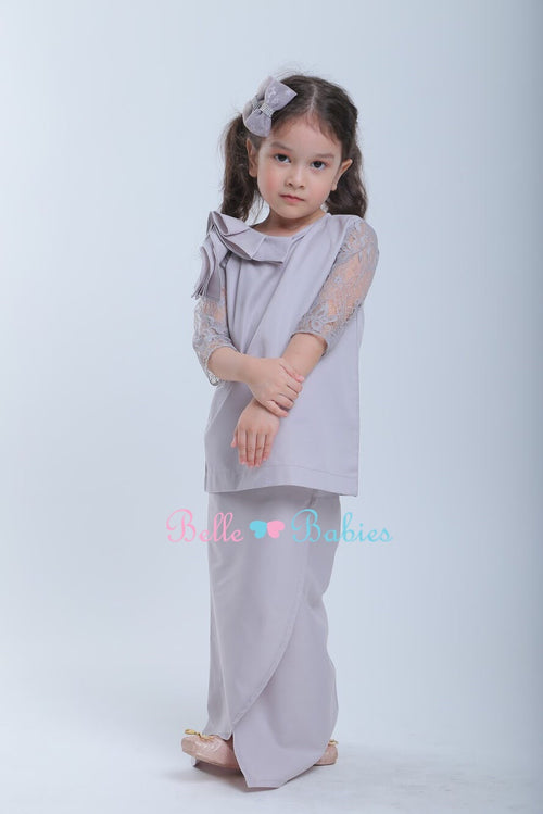 "BBD Modern Lace Kurung ""French Lace""  - Ash Grey"