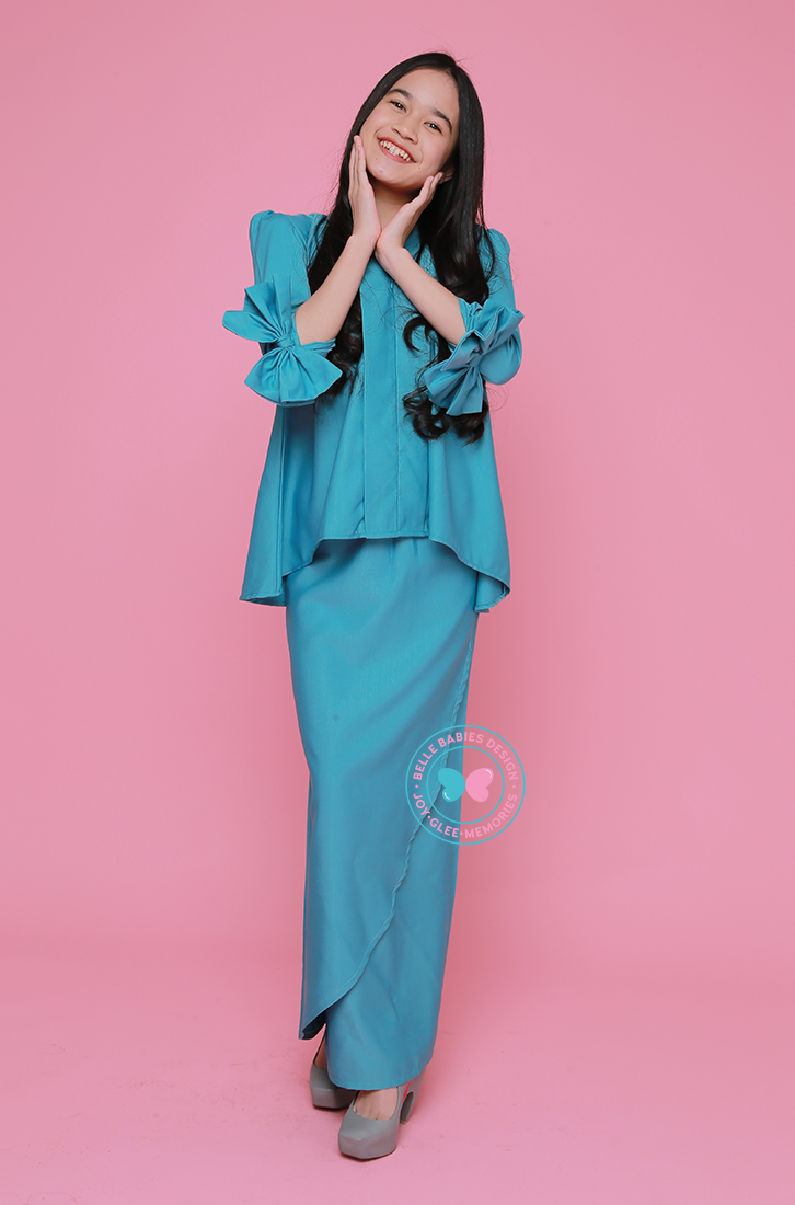 BBD Short-Top Kebaya (Teens) - Turquoise Blue